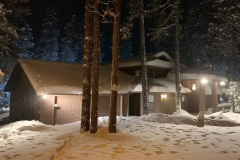 Front of House Snow at Night